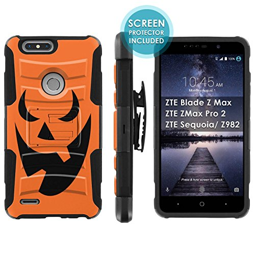 ([Mobiflare] Armor Case for ZTE Blade Zmax Pro 2/ZTE Sequoia [Black/Black] Blitz Armor Phone Case with Holster [Screen Protector INCLUDED] - [Pumpkin)