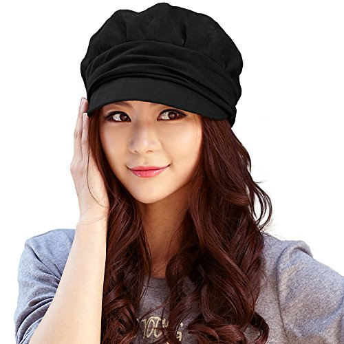 Siggi 100% Cotton Newsboy Cabbie Beret Cap for Women Cloche Visor Bill Hat Black, ()