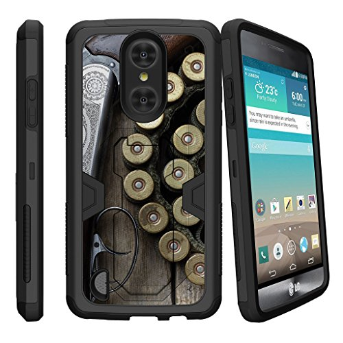MINITURTLE Case Compatible w/ LG Aristo, LG Rebel 2, Risio 2, LG Phoenix 3 [MAX DEFENSE] Hybrid Clip Armor Rugged Case w/ Stand Shotgun w/ Ammo Armor Shotgun Case