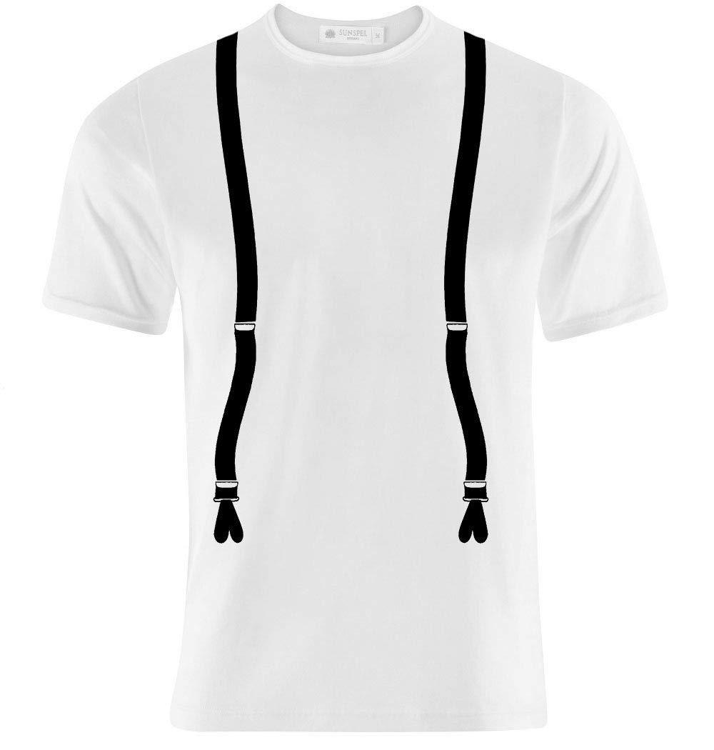 T-shirt uomo con stampa finte bretelle hipster style, retro, vintage moda fashion