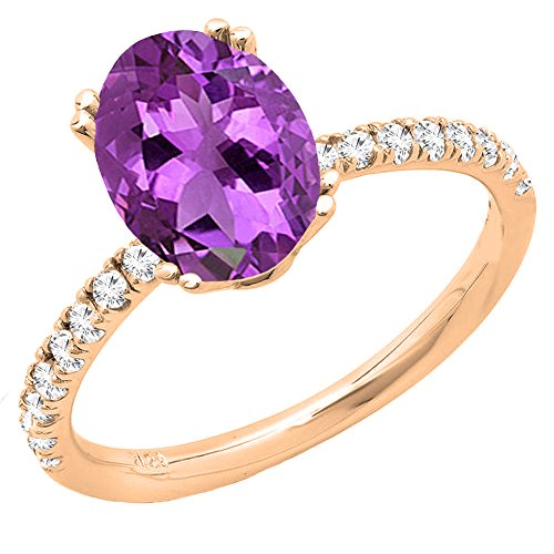 (Dazzlingrock Collection 14K 8X6 MM Oval Amethyst & Round White Diamond Bridal Engagement Ring, Rose Gold, Size 7)