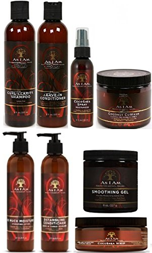 As I Am Naturally 8pcs ULTIMATE JUMBO COMBO (Curl Shampoo, Leave-In Conditioner, So Much Moisture, Cocoshea Whip, Cocoshea Spray, Smoothing Gel, Detangling Conditioner and Cocnut CoWash) by As I Am