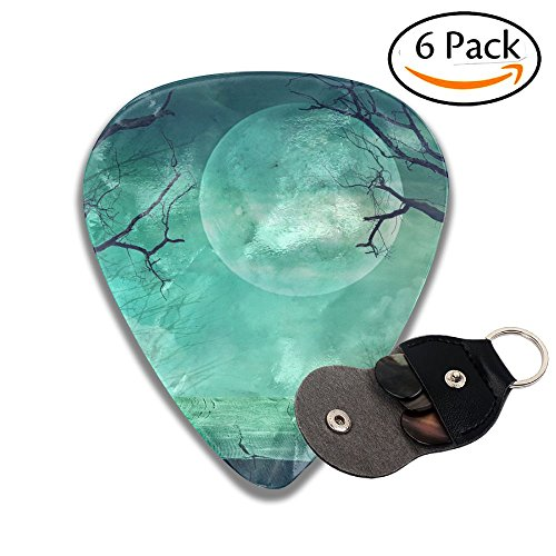 Wxf Halloween Background Spooky Forest With Full Moon And Wooden Table Stylish Celluloid Guitar Picks Plectrums For Guitar Bass .46mm 6 Pack ()