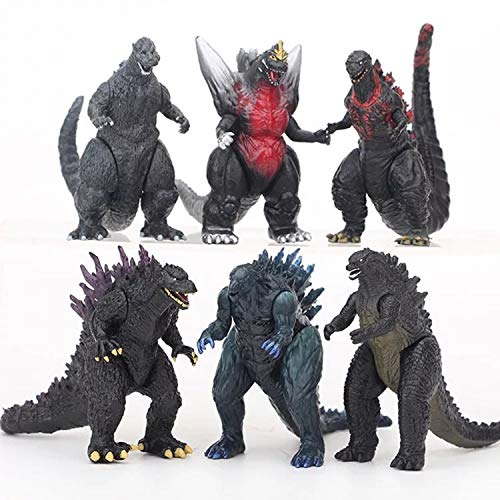 PETON 6pcs Godzilla Mini Figures Dinosaur with Movable Joint Playsets Toys Action Figures Kids Gift