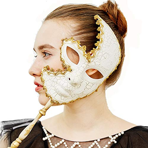 YUFENG Venetian Mask On a Stick Mardi Gras Mask for Women Masquerade Party Prom Ball (White) Halloween/Chrismas Cosplay -