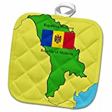 3dRose 777images Flags and Maps - Map and Flag of Moldova with the Republic of Moldova printed in both English and Romanian - 8x8 Potholder (phl_47329_1)