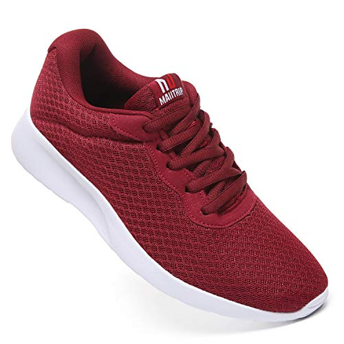 MAITRIP Mens Gym Shoes,Athletic Running Shoes,Lightweight Breathable Mesh Casual Tennis Sports Workout Walking Sneakers,Wine Red,Size 9
