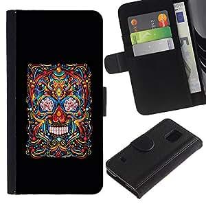 iKiki Tech / Cartera Funda Carcasa - Skull Life Death Black Floral Art Spring - Samsung Galaxy S5 V SM-G900