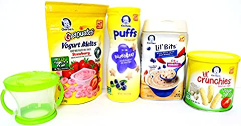 Gerber Baby Food Sampler Pack of 5 - Puffs, Melts, Lil Bits Cereal, Lil Crunchies and Snack Catcher - Gerber Toddler Bib