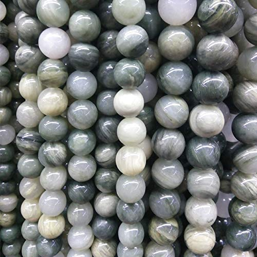 Calvas Green Grass Agates Stone Natural Stone Beads 100% not Dyed Moss Agat Stone Beads for Jewelry Making 4/6/8/10/12mm DIY Bracelet - (Item Diameter: 8mm)