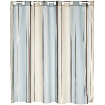 carnation home fashions ez on fabric shower curtain blue stripes
