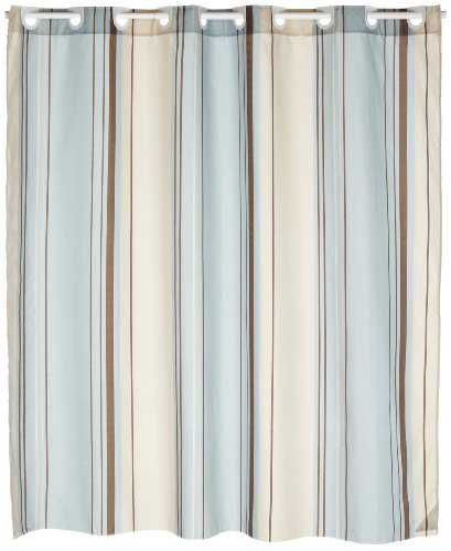 Carnation Home Fashions EZ On Fabric Shower Curtain, Blue Stripes
