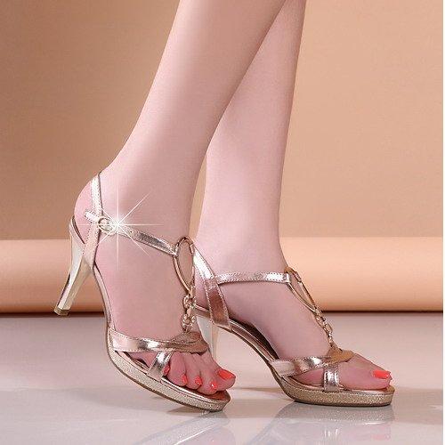 Zapatos del talón medio de pescado de alta Plataforma Agua Resistente Bellas talón sandalias femeninas de rocío del dedo del pie zapatos del diamante Golden