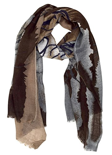 Abstract Scarf (Peach Couture Soft and Sheer Wool Blend Scarf Shawl Wrap Graffiti Brown)
