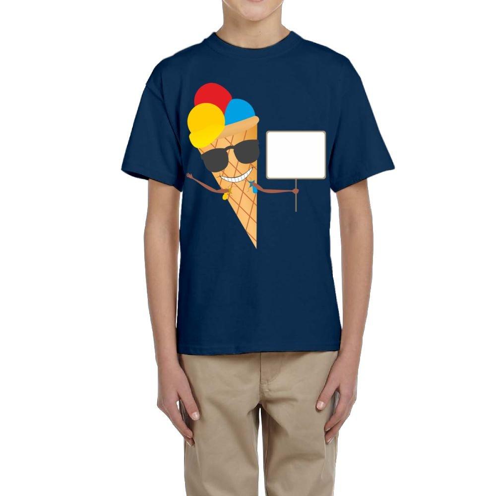 Fzjy Wnx Ice Cream with Sunglasses Youth Crewneck Short-Sleeve of T-Shirt for Boys