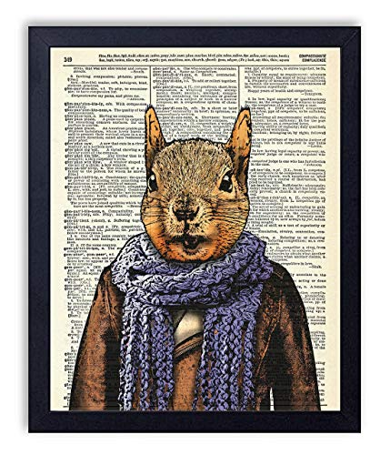 Squirrel In Scarf Vintage Wall Art Upcycled Dictionary Art Print Poster 8x10 inches, Unframed