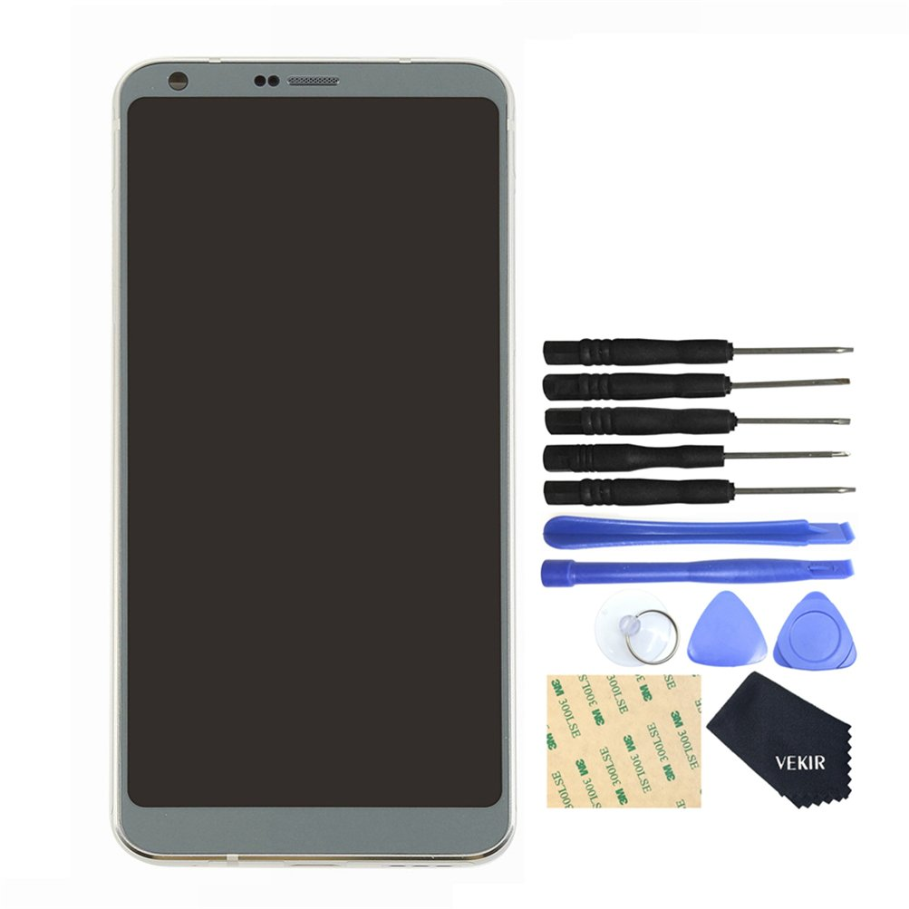 VEKIR Touch Display Digitizer Screen with Frame Replacement for LG G6 H871 H872 H873(SILVER)