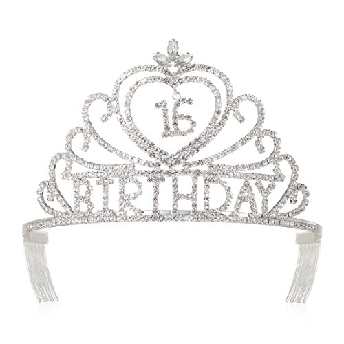DcZeRong Girls 16th Birthday Tiaras Crowns Princess 16th Birthday Prom Pageant Party Tiaras