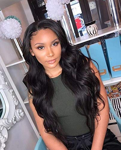 360 Lace Frontal Body Wavy Wigs 100% Virgin Human Hair Wigs For Black Women 150 Density Natural Black Color 16 Inch Jing Rui Te
