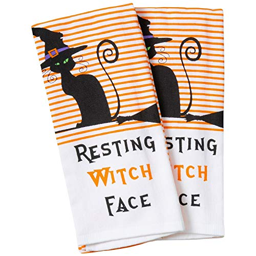 Halloween Fall Black Cat Pumpkins Witches Bats Cotton Dishtowel Set of 2 Kitchen Tea Towels (Witch -