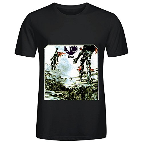 [Ufo Ufo Live 80s Album Cover Mens Crew Neck Casual Shirt Black] (Sweeney Todd Halloween)