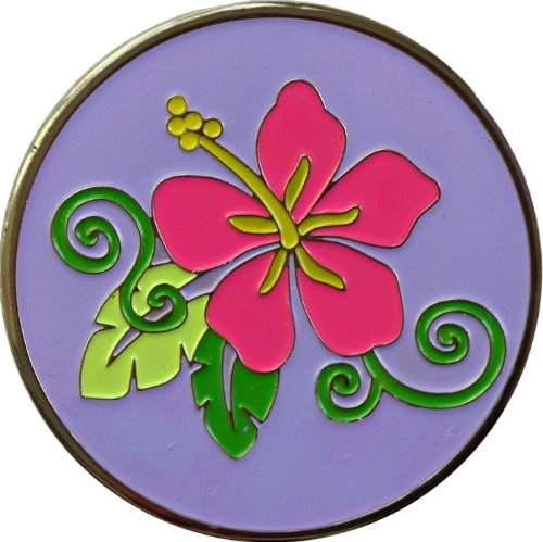 Purple Hibiscus Flowers and Garden Golf Ball Marker and Matching Hat Clip