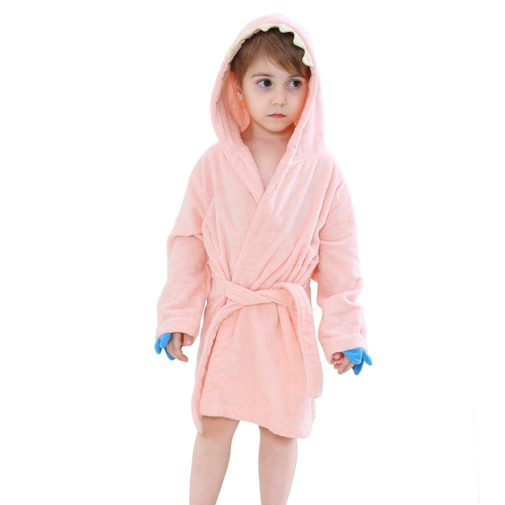 IDGIRL Toddler Bathrobe Dinosaur Hooded Cotton Towel for Kids,Pink Small