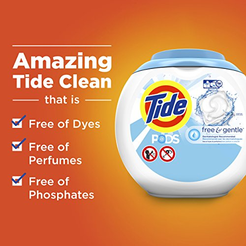 Tide Free and Gentle Laundry Detergent Pods, 96 Count, Unscented and Hypoallergenic for Sensitive Skin (Packaging May Vary) by Tide (Image #6)