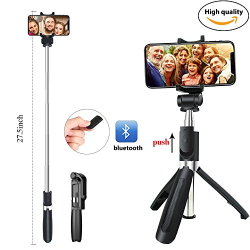 Udoo Selfie Stick Tripod with Bluetooth Remote for iphone X 8 plus 7 6 6s plus Android Samsung s9 s8 s7 plus edge Pocket 360 Degree Rotation Extendable Monopod Aluminum Alloy by udoo
