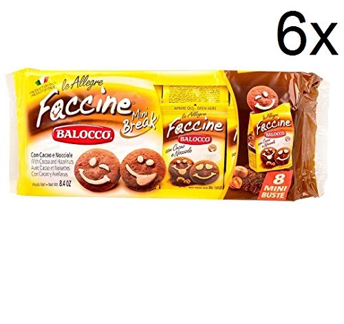 6X Balocco faccine Biscuits with Chocolate (8 Mini envelopes 30g) Biscuits Cookies