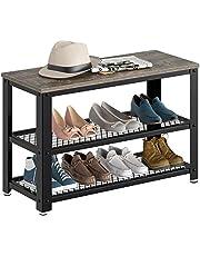 """Rolanstar Shoe Bench, 3-Tier Shoe Rack 28.7"""", Storage Entry Bench with Mesh Shelves Wood Seat, Rustic Foyer Bench for Hallway Front Door, Doorway, Living Room, Mudroom, Steel Frame, Gray"""