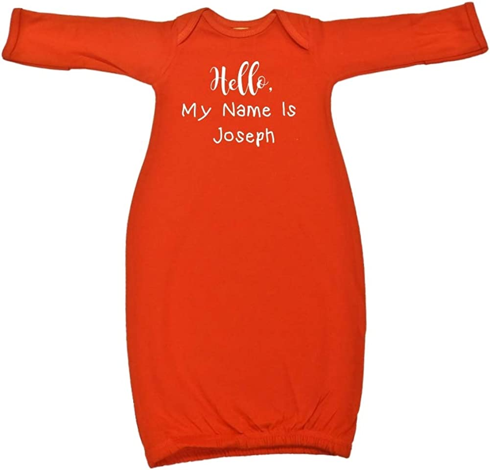 Mashed Clothing Hello My Name is Joseph Personalized Name Baby Cotton Sleeper Gown