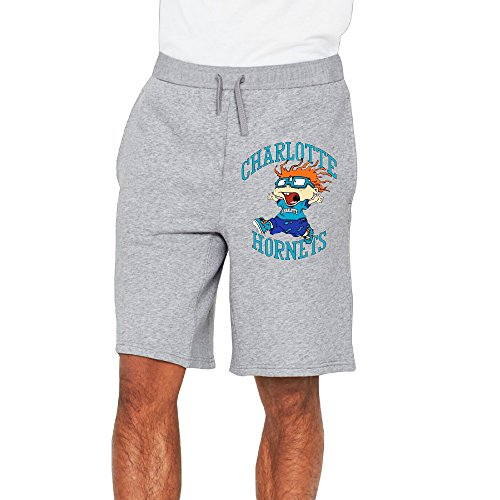 Men's Charlotte Hornets Nickelodeon Night Cotton Short Fleece Pants Ash US Size XL