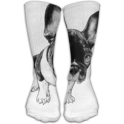 Cartoon Bulldog Cute Women & Men Socks Soccer Sport Tube Stockings Length 30cm