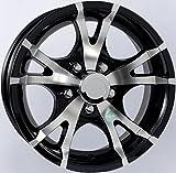 (US) 2-Pack Aluminum Trailer Wheel Black Rims 15 x 6 V-Spoke Style (5 Lug On 4.5