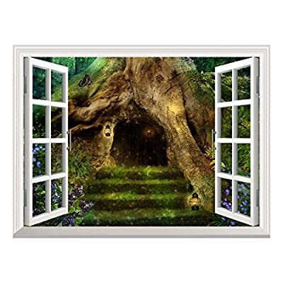 Removable Wall Sticker/Wall Mural - Old Tree in The Forest with a Little House in It's Roots | Creative Window View Home Decor/Wall Decor - 36