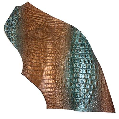 (Italian Hornback Crocodile Embossed Cowhide Leather (1 SQFT, Turquoise/Brown))