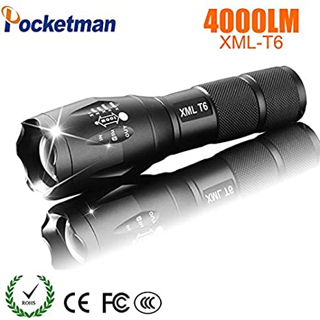 RAISSER Rechargeable CREE XML T6 linterna Torch 4000 lm Outdoor Camping LED Flashlight