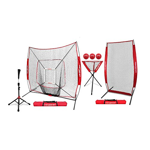 PowerNet (All in One Bundle) DLX Baseball Softball Net w/ Strike Zone, Training Ball, I-Screen, Travel Tee, and Ball Caddy (Red)