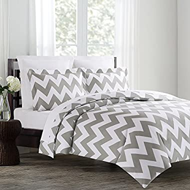 Echelon Home Chevron Duvet Cover Set, King, Feather Gray