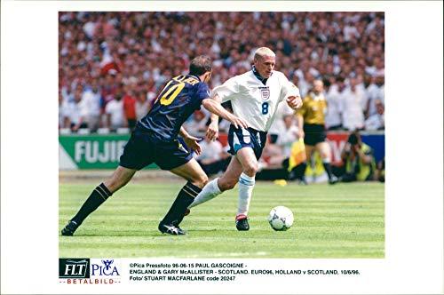 Vintage photo of Sports: Football EM 1996. England - Scotland. Paul Gascoigne and Gary McAllister