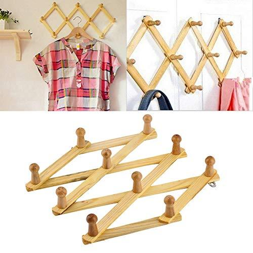 Takestop Lote de 2 percheros plegables de madera para pared