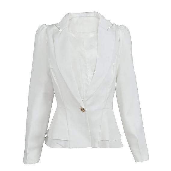 SODIAL(R) Blazer chaqueta de moda Traje de mujer Abrigo de manga larga plegable