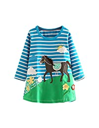 Mud Kingdom Long Sleeve Girls Cotton A-line Print Casual Party Dresses Various
