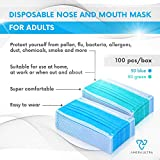 Face Mask with Earloops – 100 Pack – Disposable – Hypoallergenic – Protect Yourself from Dust, Germs and Pollen – Ideal for Medical, Surgical, Catering and Construction Workers – Blue and Green Masks