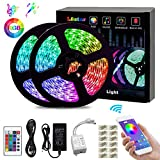 L8star LED Color Changing Rope 32.8ft(10m) SMD 5050 RGB Light Strips with Bluetooth Controller Sync to Music Apply for TV, Bedroom, Party and Home Decoration, White