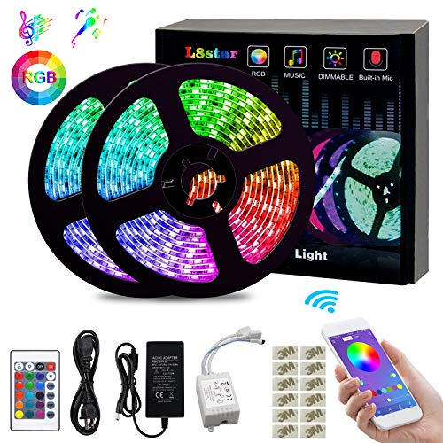LED Strip Lights, L8star Color Changing Rope Lights 32.8ft(10m) SMD 5050 RGB Light Strips with Bluetooth Controller Sync to Music Apply for TV, Bedroom, Party and Home Decoration (32.8ft) -