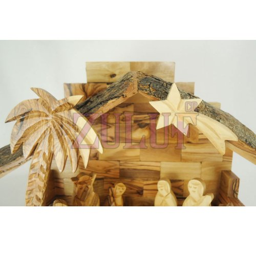 Zuluf Small Hand Carved Nativity Set Scene With Bark Roof Made In Bethlehem NAT022