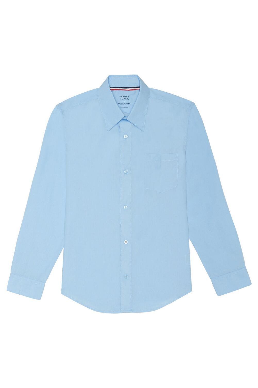 French Toast Little Boys' Toddler Long Sleeve Poplin Dress Shirt, Light Blue, 3T