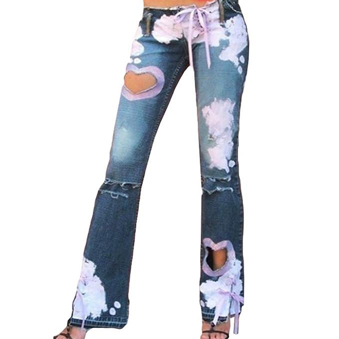 Pantalón Pierna Ancha Cintura Baja Mujer Jeans Agujero Roto ...